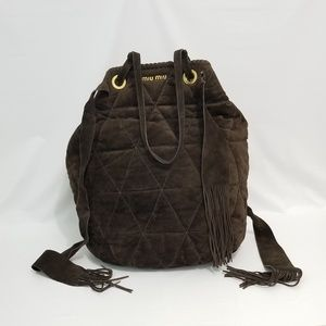 Miu Miu Soft Light Chocolate Bucket Quilted Tote
